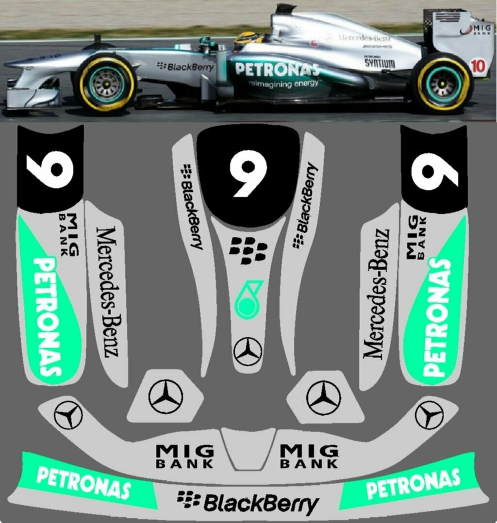 2013 Mercedes Benz F1 Vinyl Kart Sticker Kit For Kg Unico Pods Nosecone Nassau Panel [ 1078 x 1024 Pixel ]