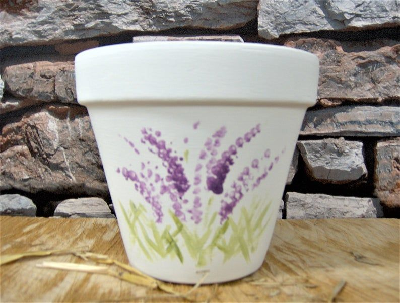 Lavender Hand Painted Flower Pot Etsy In 2020 Painted Flower Pots Flower Pot Art Flower Pots