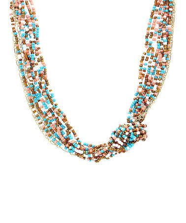 Another great find on #zulily! Turquoise & Brown Confetti Knot Seed Bead Necklace #zulilyfinds