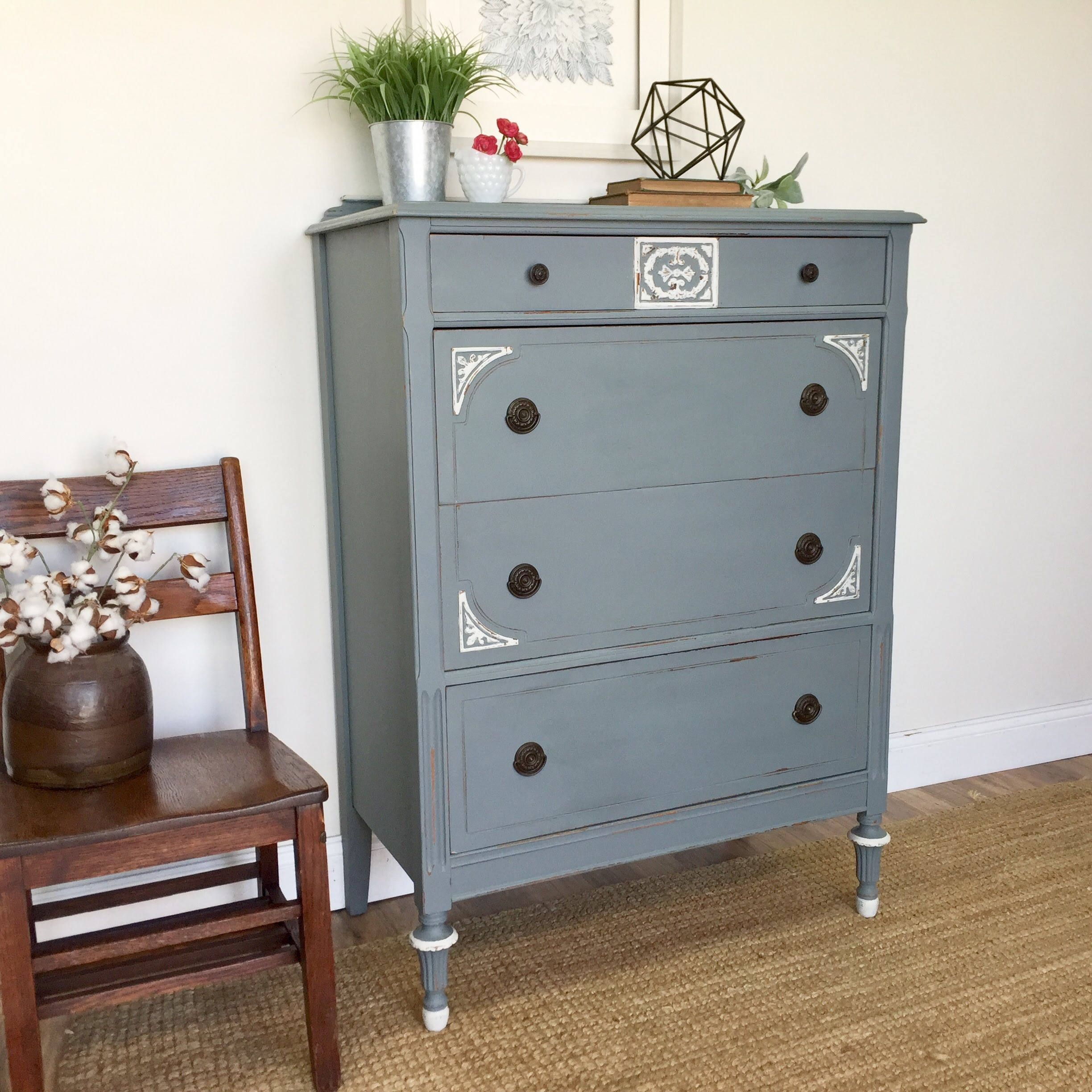 Tall Chest of Drawers Distressed Furniture
