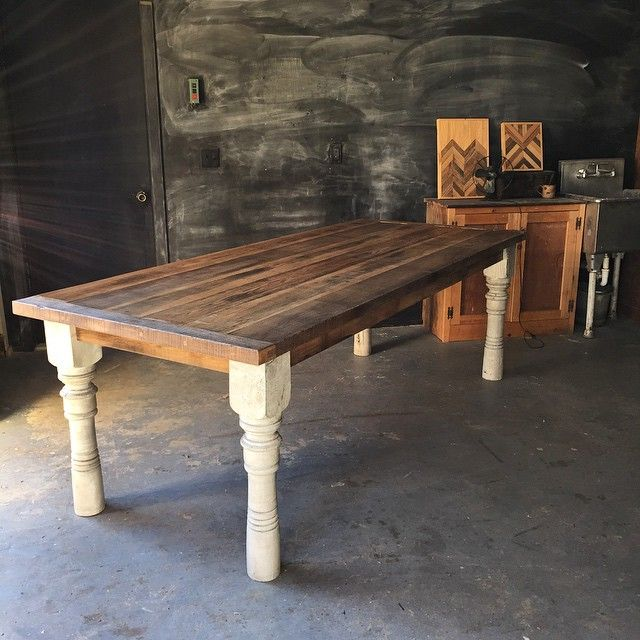 Red oak farmhouse table.  I like this one, because the color varies and you can see the individual board.