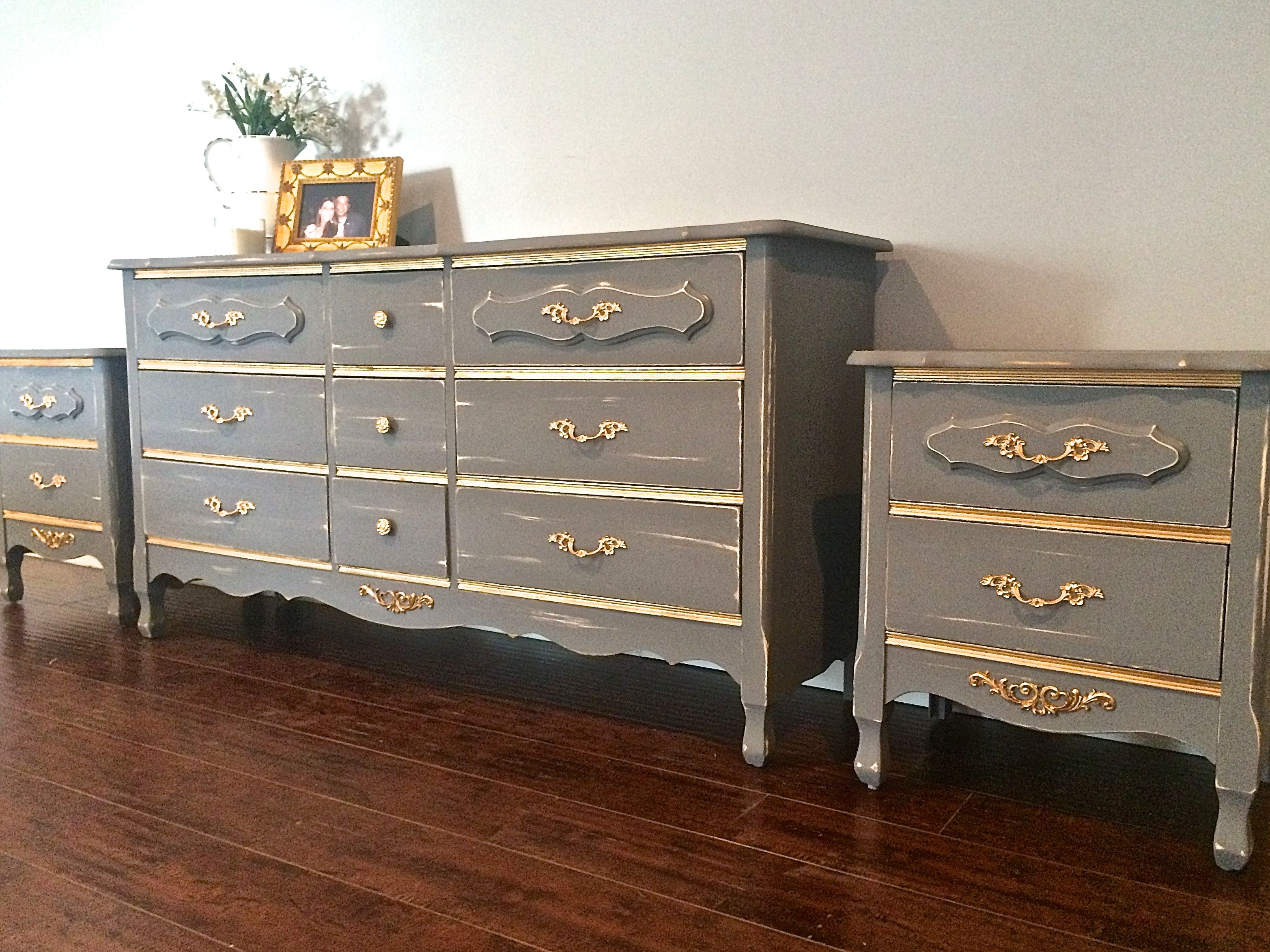 Shabby Chic Vintage Grey Gold Bedroom Set 9 Drawer Dresser 2 Nightstands 600 Sold Grey And Gold Bedroom Selling Furniture Shabby Chic [ 2348 x 3130 Pixel ]