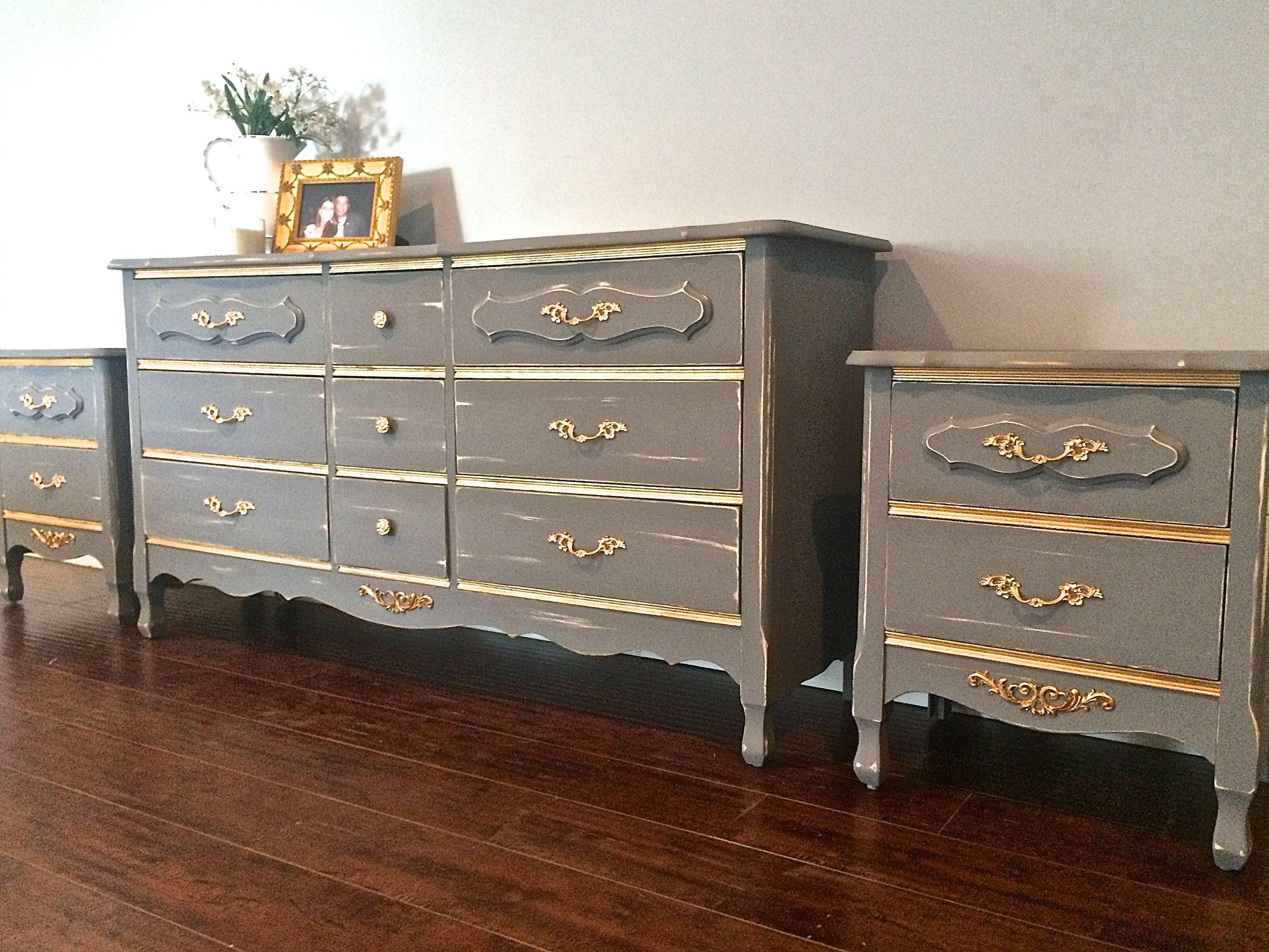 Shabby Chic Vintage Grey Gold Bedroom Set