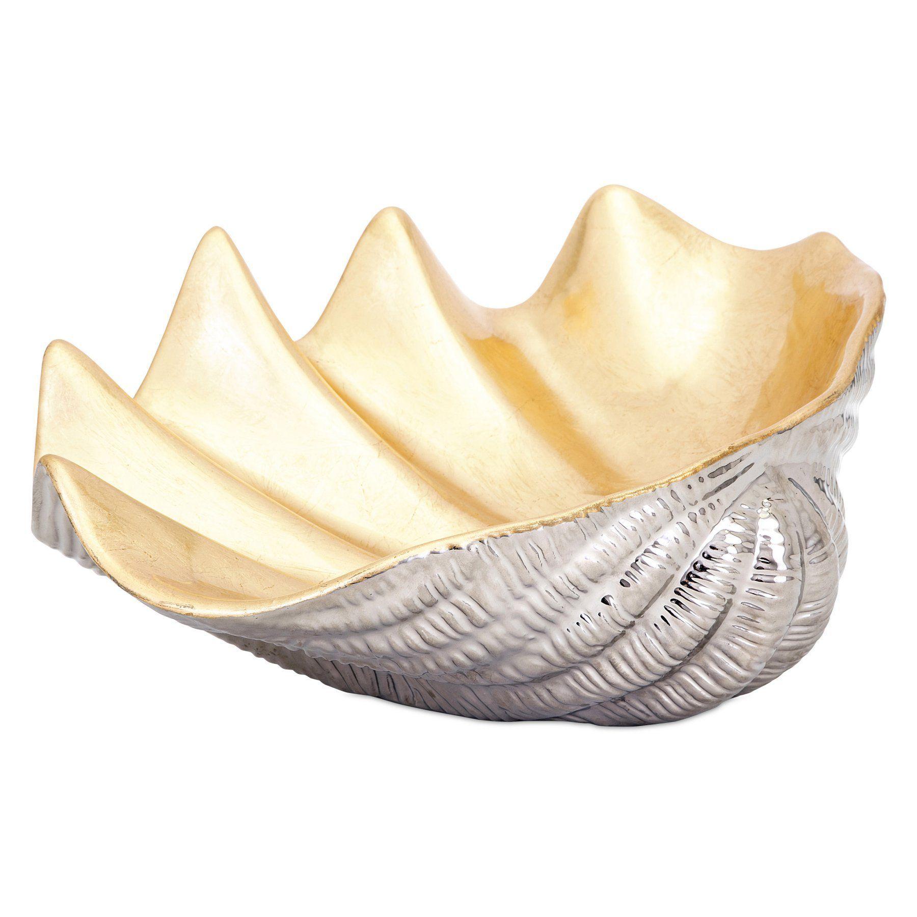 Yellow Decorative Bowl Imax Geneva Ceramic Shell Decorative Bowl 14446
