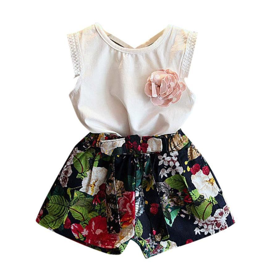 Mud Kingdom Girl Solid Color Blouse and Floral Shorts Outfit