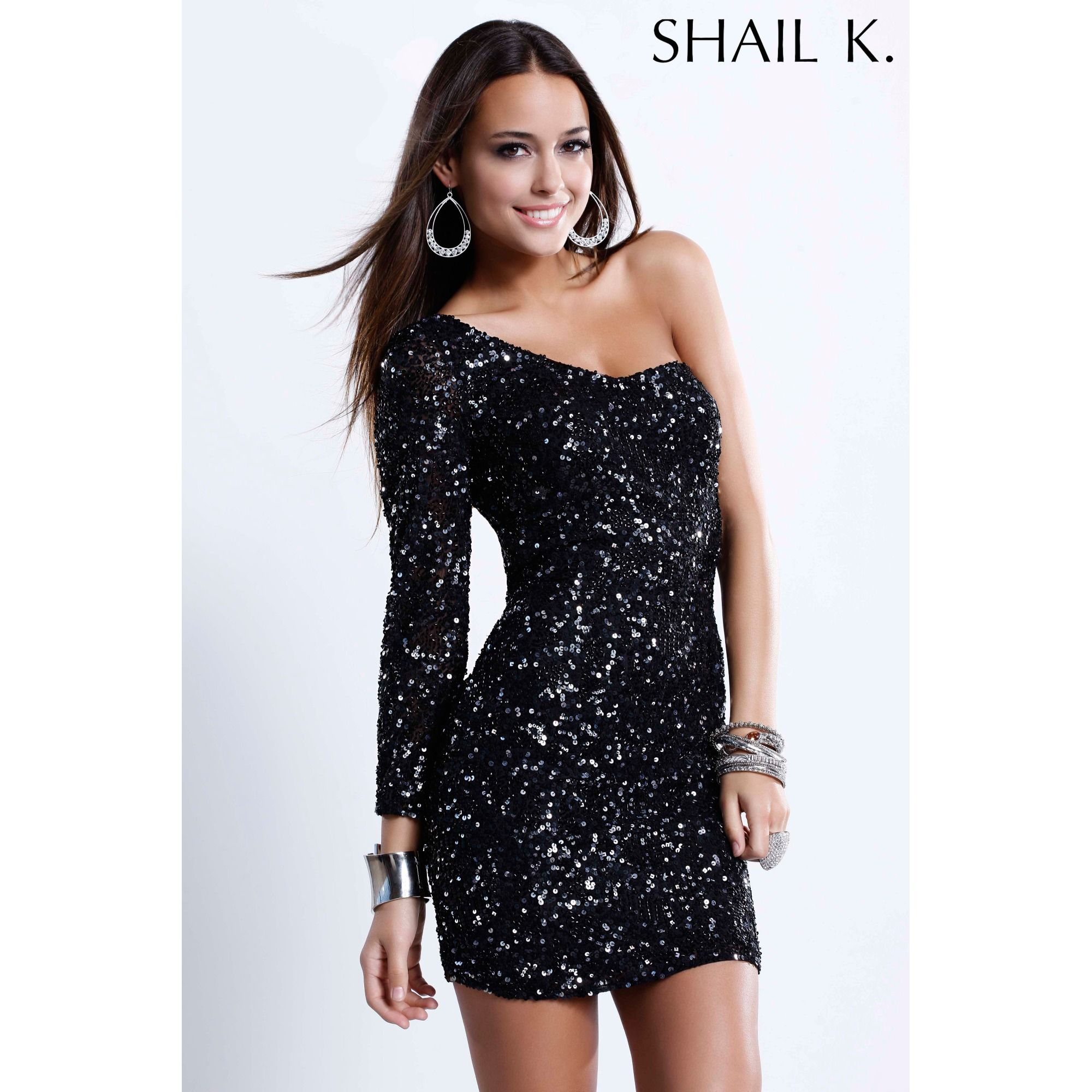 shail kk one sleeve sequin cocktail dress   bridgett   Pinterest ...