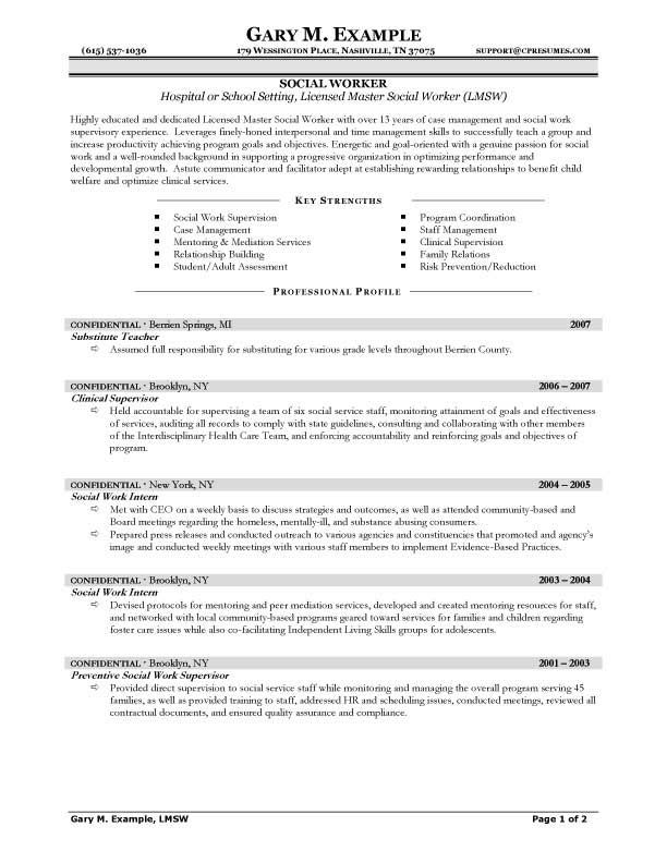 Social Worker Resume Template -   jobresumesample/810 - resume goals