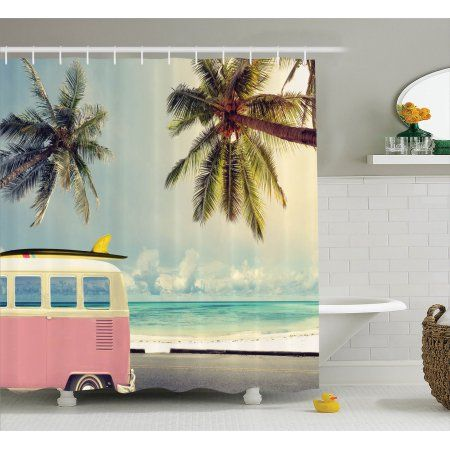 Surf Decor Shower Curtain Set Minivan On The Beach Retro Inspired Vocation Theme Clouds In