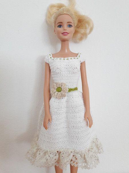 puppenkleidung barbie kleid geh kelt wei ein designerst ck von anna tim bei dawanda. Black Bedroom Furniture Sets. Home Design Ideas