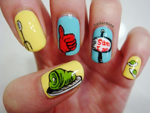 I Love Dr Seuss Nail Art Green Eggs And Ham Nails Pinterest