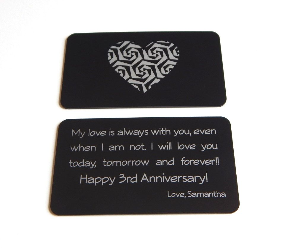 3rd Wedding Anniversary Gift To My Husband Wallet Insert From Wife