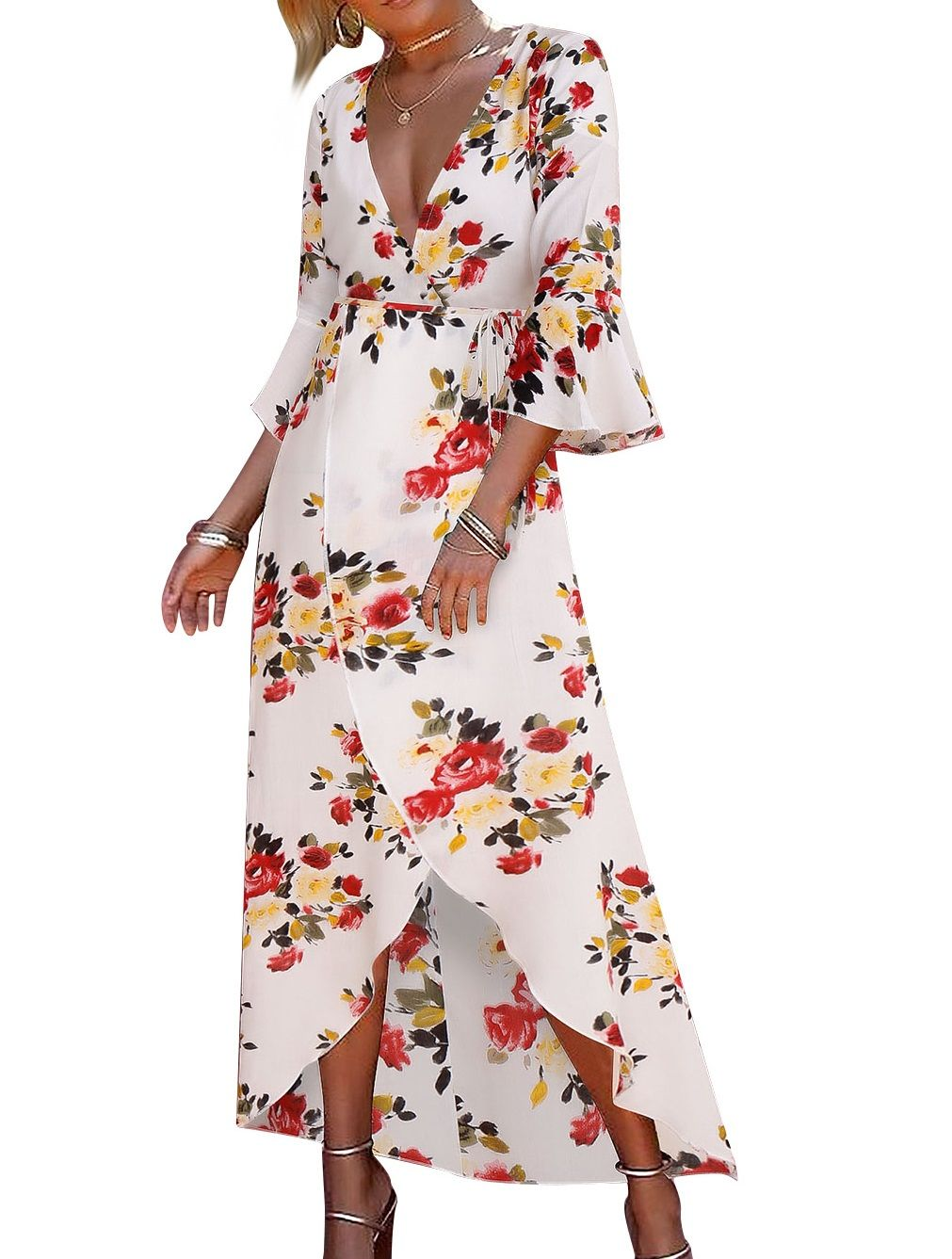 Sexy vneck long wrapped floral dress with ruffles sleeves item no