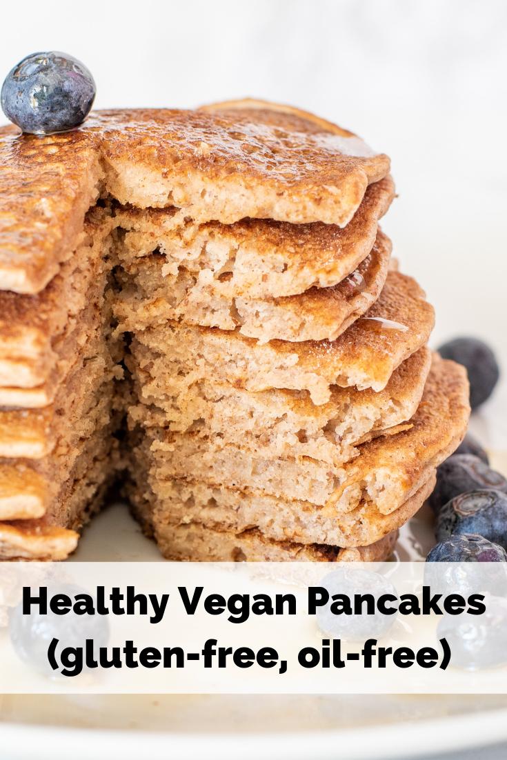 Vegan Pancakes Fluffy, golden brown, soft vegan plant-based pancakes. Oil-free, gluten-free, egg-free, dairy-free. So yummy and delish!Fluffy, golden brown, soft vegan plant-based pancakes. Oil-free, gluten-free, egg-free, dairy-free. So yummy and delish!