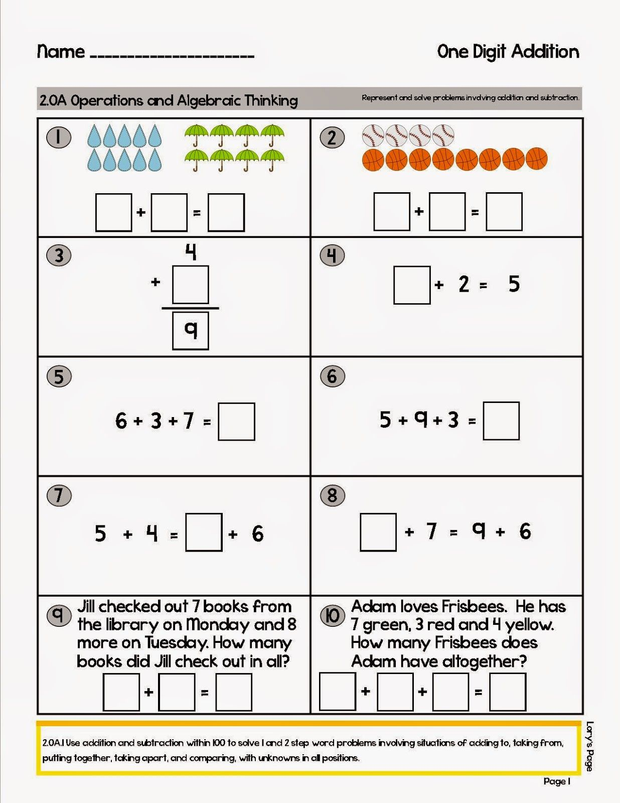 Math Assessments For All Cc Standards 1st And 2nd