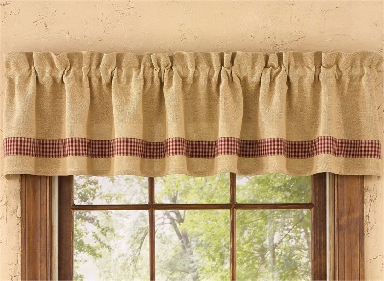 Red Burlap Check Curtain Valance 72 X 14 Valance Curtains