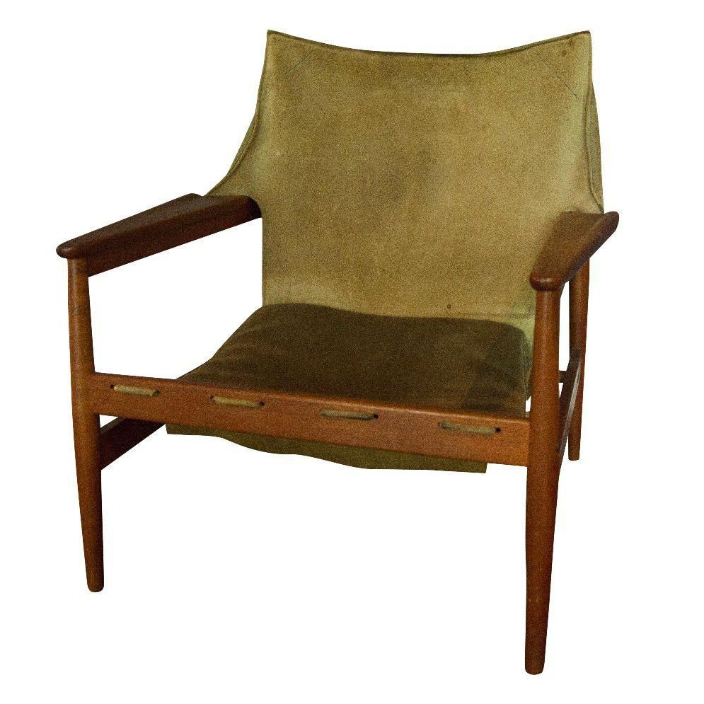 Vintage Hans Olsen Suede Sling Chair | Oversized chair ... on Living Accents Sling Folding Chaise id=26332