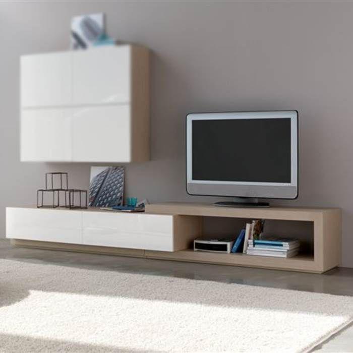 mueble de televisin mistral de diseo actual con cajones y hueco asimtrico realizado en
