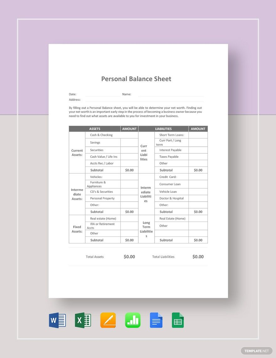 Personal Balance Sheet Template Free Google Docs Google Sheets Excel Word Apple Numbers Apple Pages Template Net Balance Sheet Template Balance Sheet Personal Budget Spreadsheet Personal balance sheet template excel
