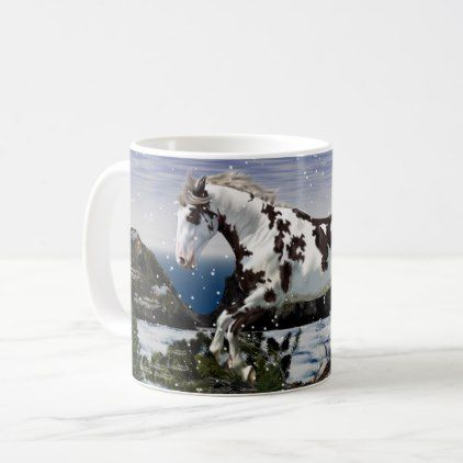 Chestnut And White Paint Horse In Snow Coffee Mug Office Gifts Giftideas Business Horses In Snow Mugs Gifts For Horse Lovers