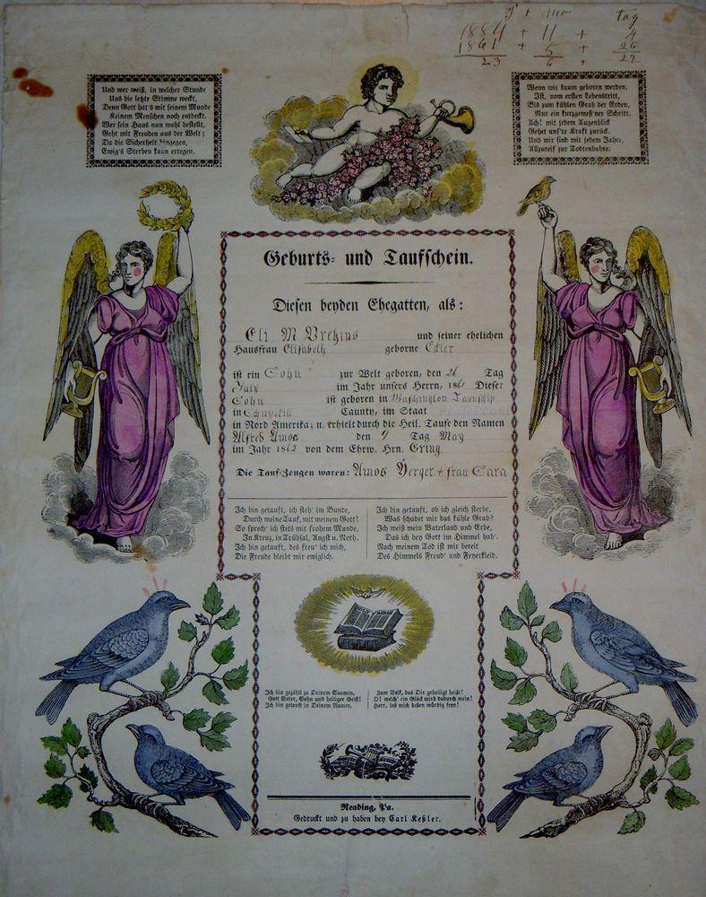 1861 taufschein geburts antique baptism birth certificate fraktur ...
