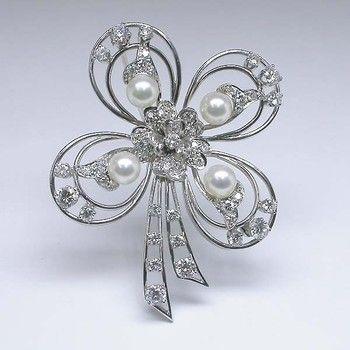 Platinum Diamond Pearl Pin