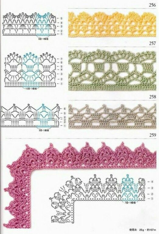 Edgings | Вязание крючком (схемы). | Pinterest | Amarillo, Ganchillo ...