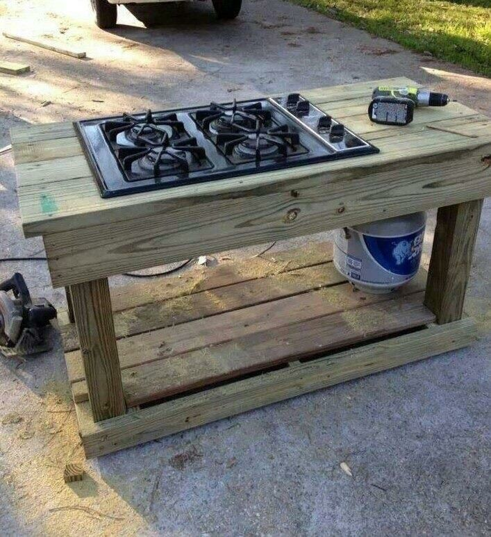 Outdoor Kitchen Made From An Old Gas Stovetop Add Wheels To Bottom So You Can Move Around Your Backyard Pat Outdoor Stove Outdoor Kitchen Outdoor Cooking Area