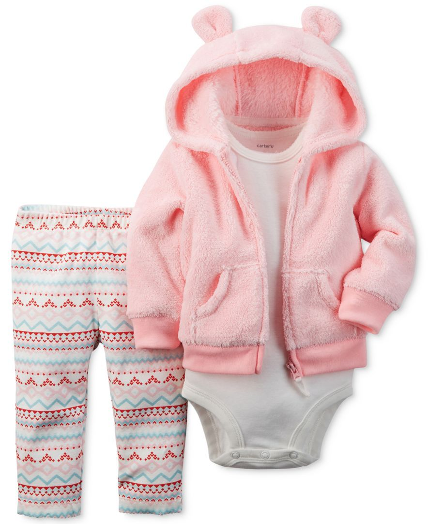 Carter\'s Baby Girls\' 3-Piece Pink Velboa Cardigan, Bodysuit & Pants ...