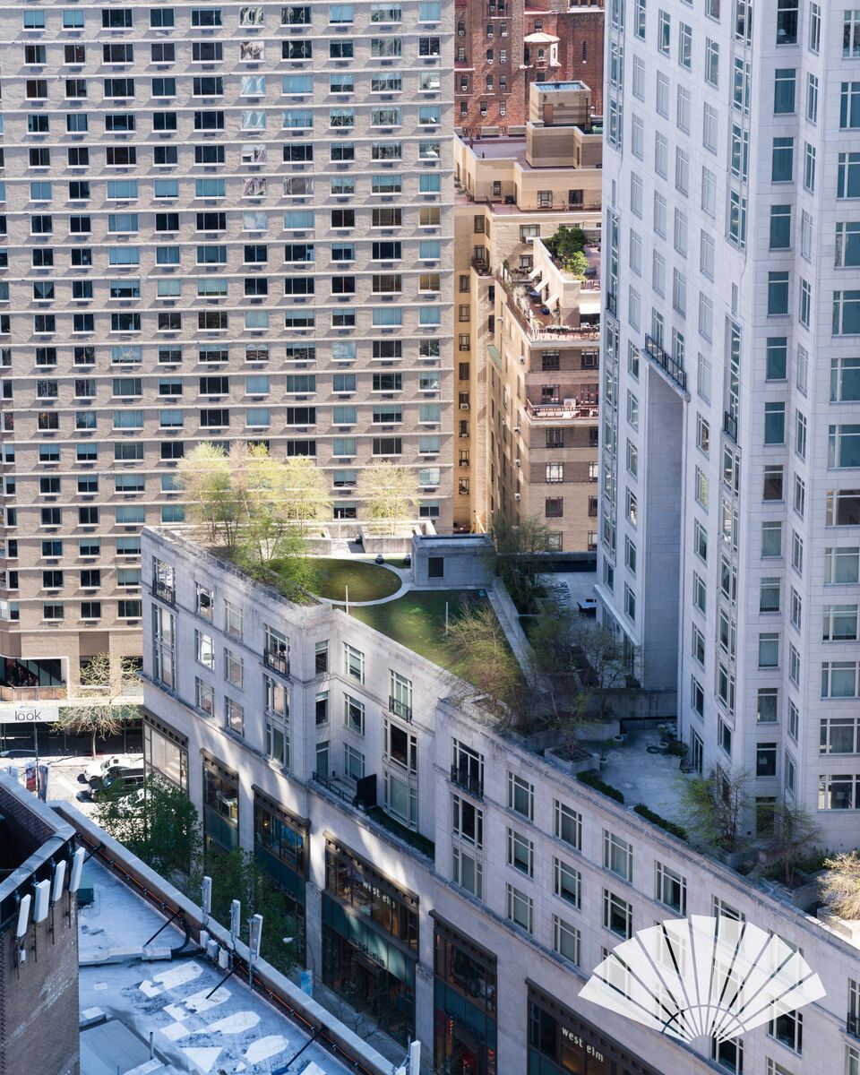 a rooftop garden steps away from central park, as viewed