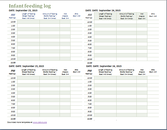 Infant Feeding Log Template At DotxlsOrg  Microsoft Templates