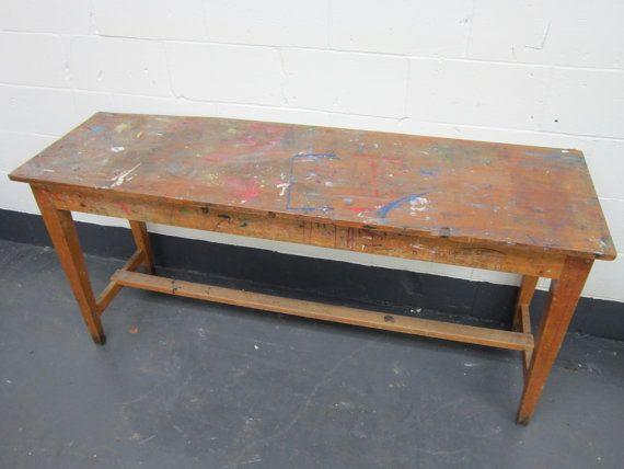 Vintage School Art Table by UNIQFurniture on Etsy
