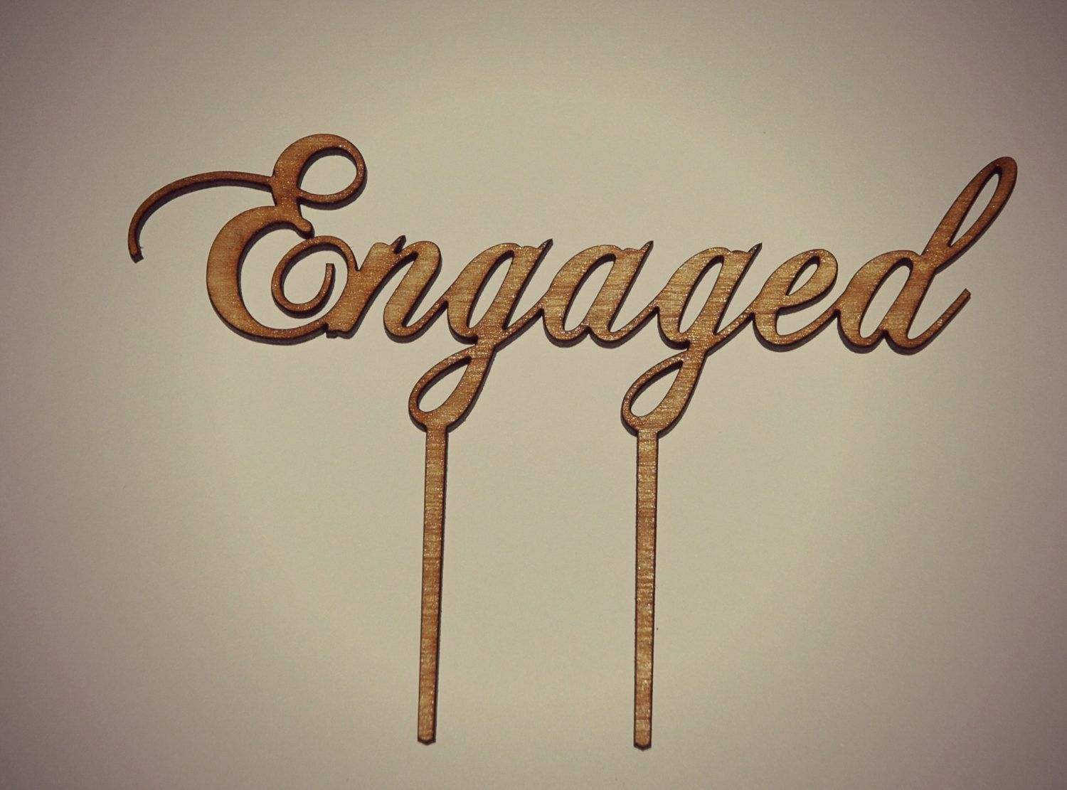 Wooden Rustic Engaged Cake Topper, Bridal Shower, Kitchen Tea ...