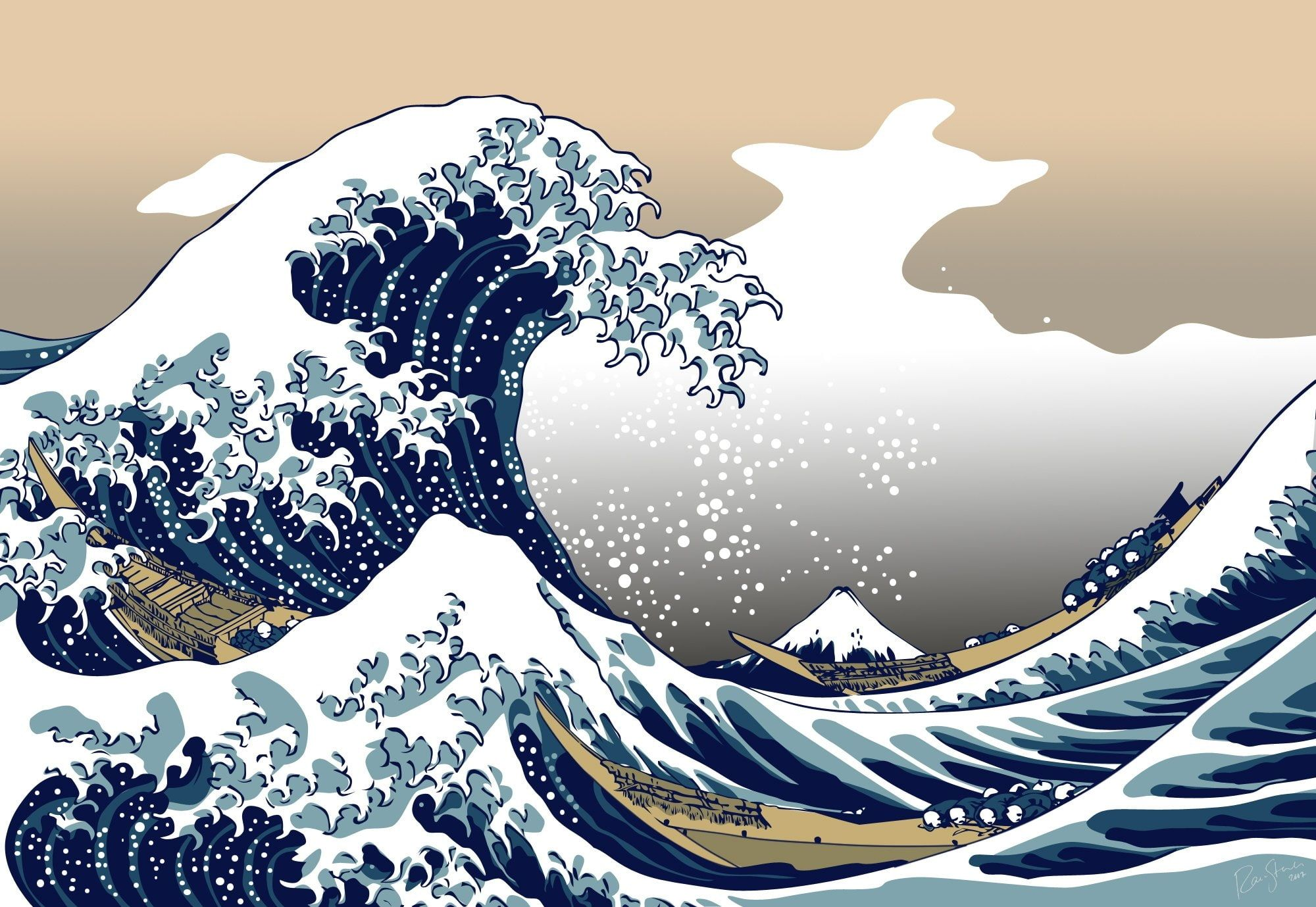 Japanese wave painting ...