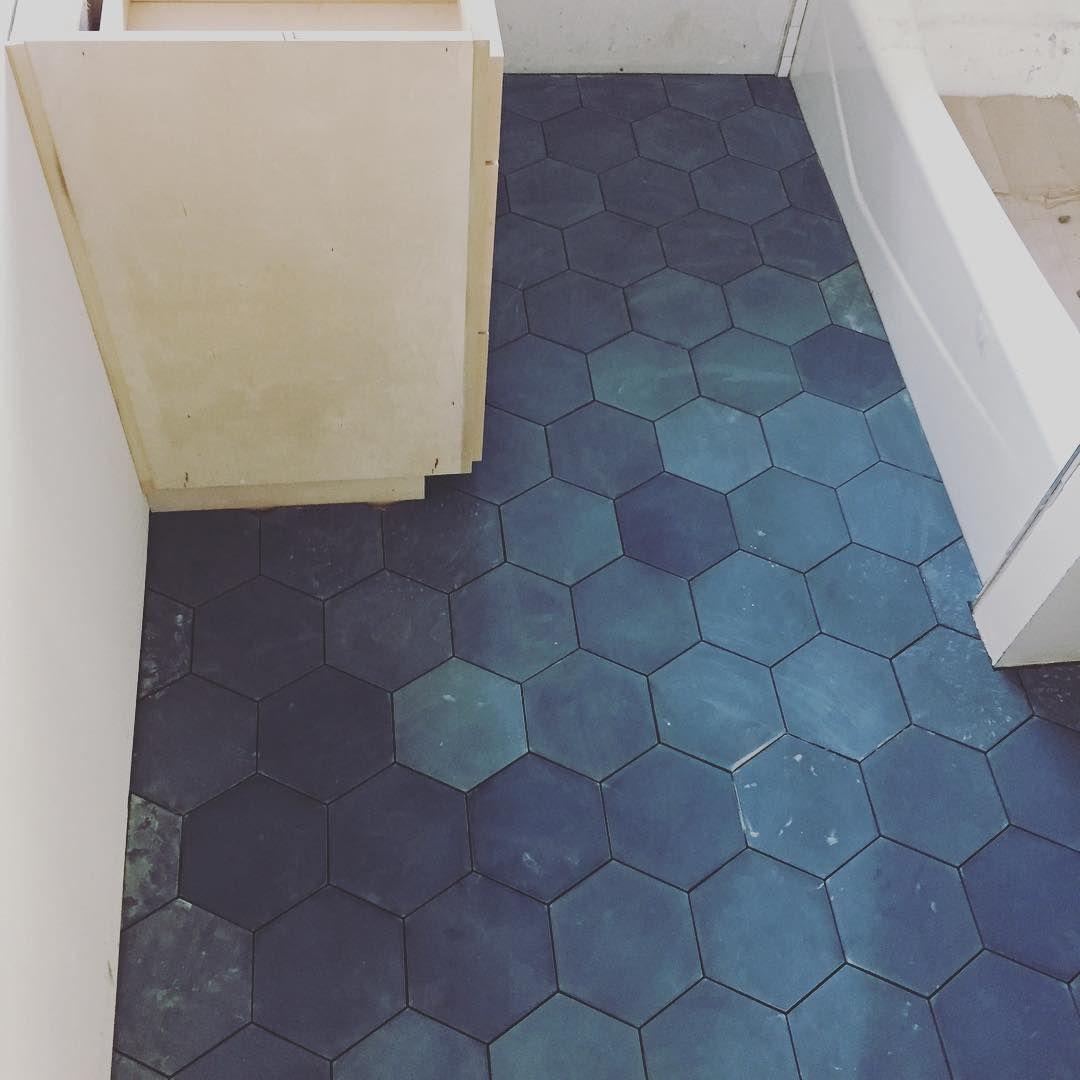 Rich Textural Blue Cement Tiles Kitchen Cle Tile Cement Tile