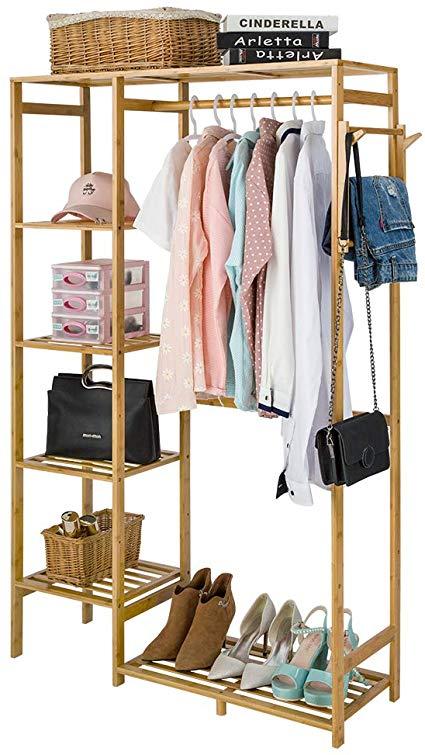 isino bamboo wood clothing garment rack