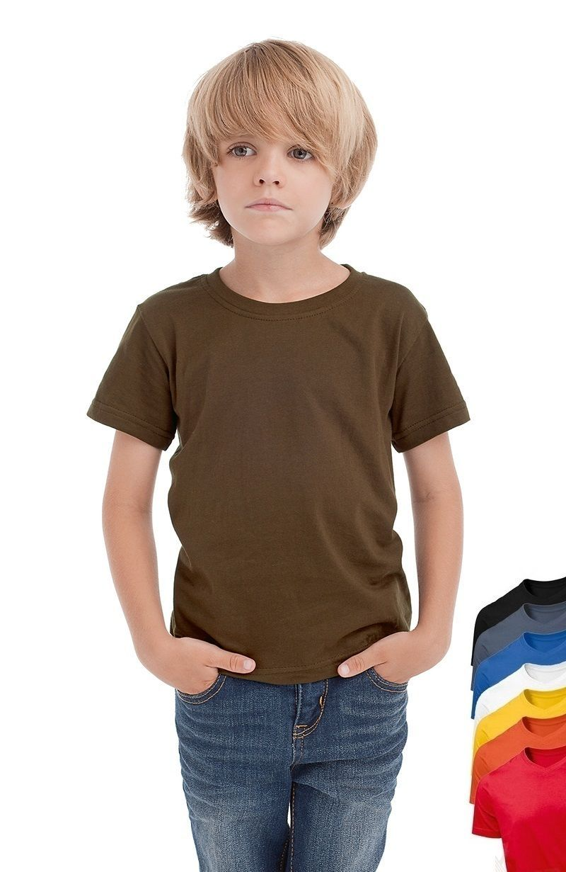 Hanes Plain BROWN Childrens Kids Boys Girls Childs Cotton Tee T-Shirt Tshirt