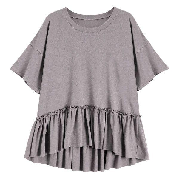 b0467dc0 Short Sleeve Ruffle Hem T-Shirt Smashing ($17) ❤ liked on Polyvore  featuring tops, t-shirts, shirts, short sleeve t shirt, short sleeve tops,  shirt top, ...