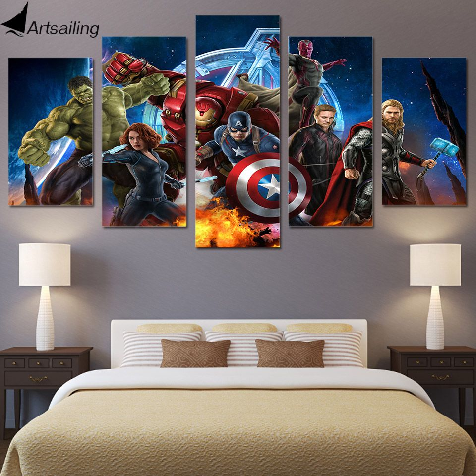 hd printed avengers animation 5 piece picture painting wall art room rh pinterest fr