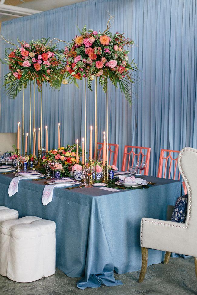 Living Coral And Blue Wedding Inspiration Beach Wedding