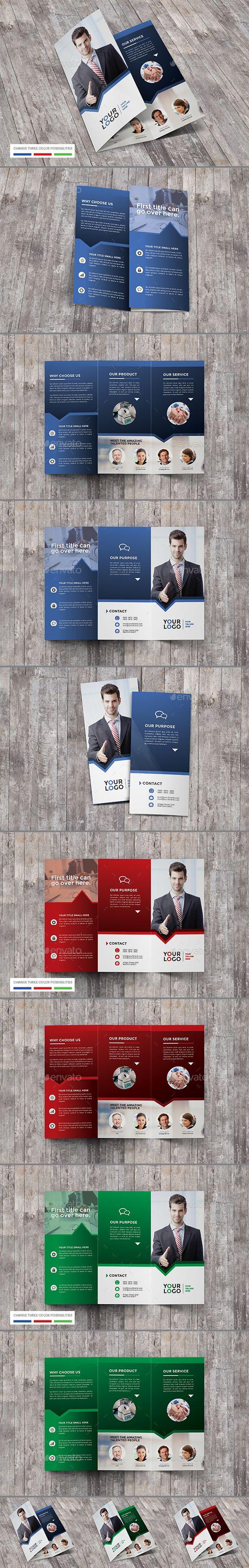 trifold brochure business corporate a4 template ai illustrator