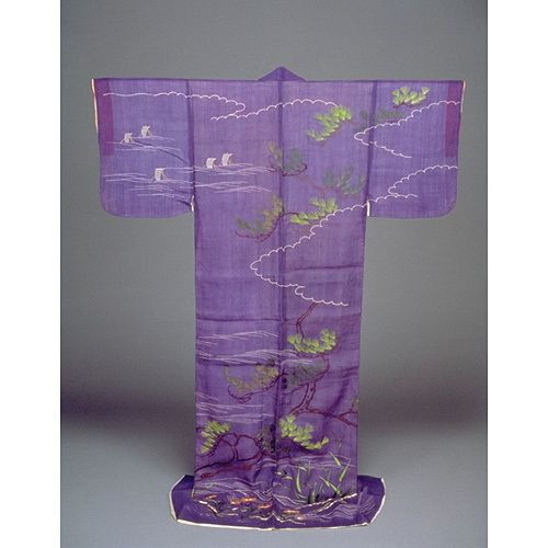 Hitoe (Unlined, Short-sleeved Kimono) with Sailing Vessels and Pine Trees in Embroidery on Purple Ra.  Undated. Kyoto National Museum