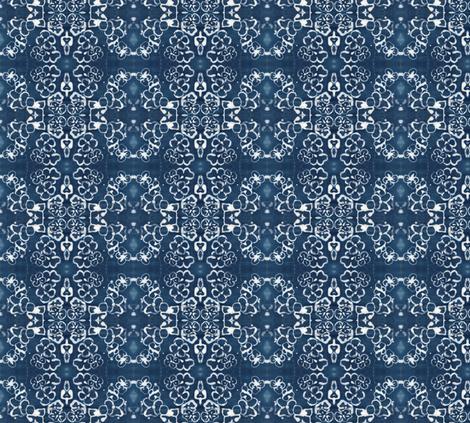 Damask Batik Indigo Flower Wallpaper fabric by laurie_hull on Spoonflower - custom fabric