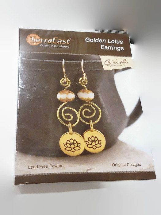 Earring Kit Lotus Earrings by TierraCast - DIY Jewelry, Tutorial, Czech Glass, Gold Filled, Dangles, Spirals by offthebeadingpathva on Etsy