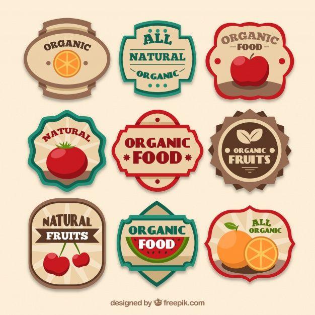 Download Assortment Of Vintage Organic Food Labels For Free Organic Food Labels Organic Recipes Organic Fruit