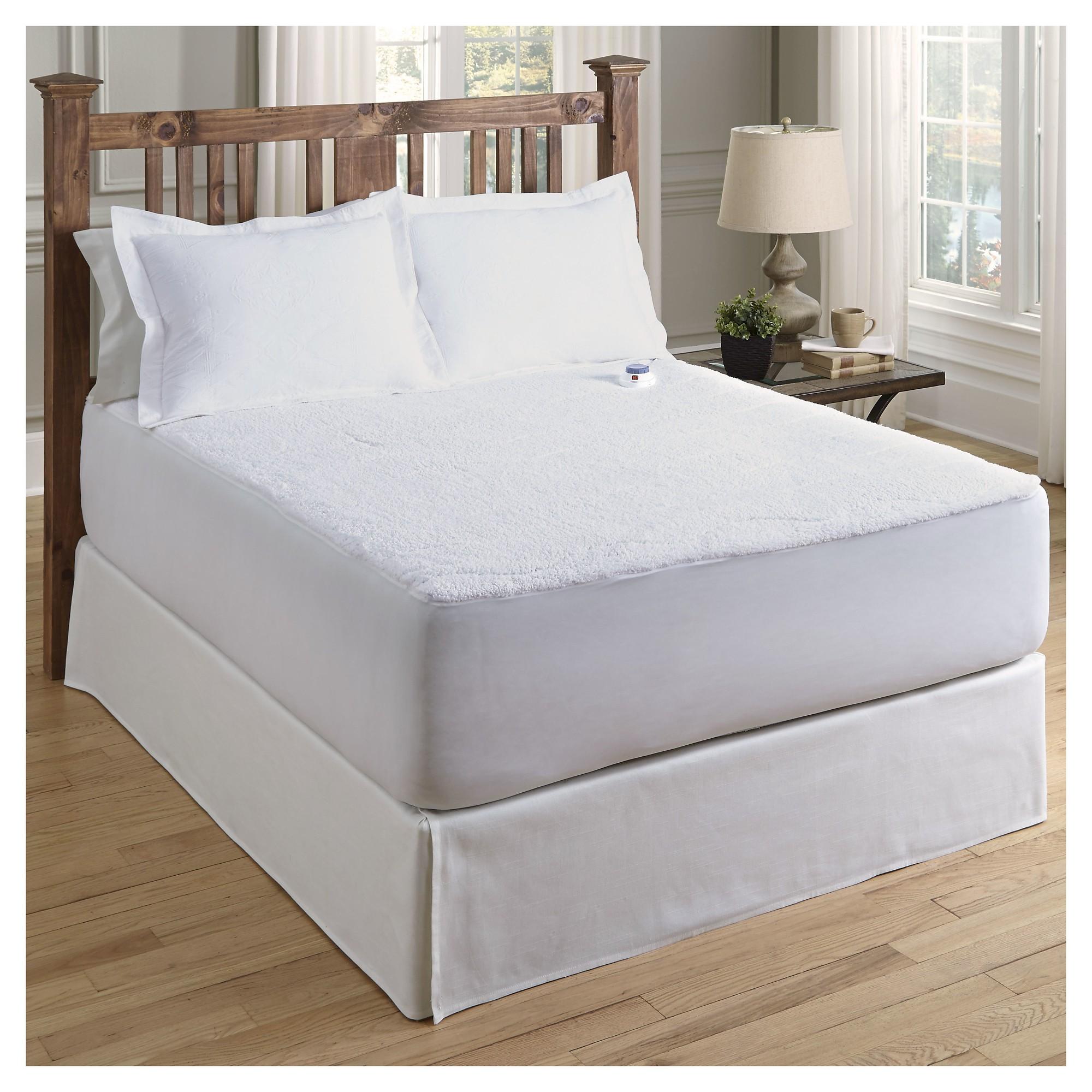 Sherpa Warming Mattress Pad (Cal King ) White Soft Heat