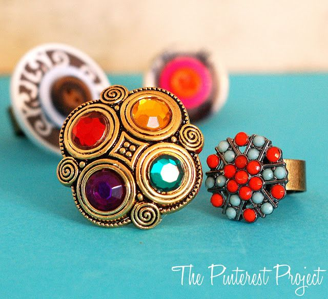 The Pinterest Project: Button Statement Rings