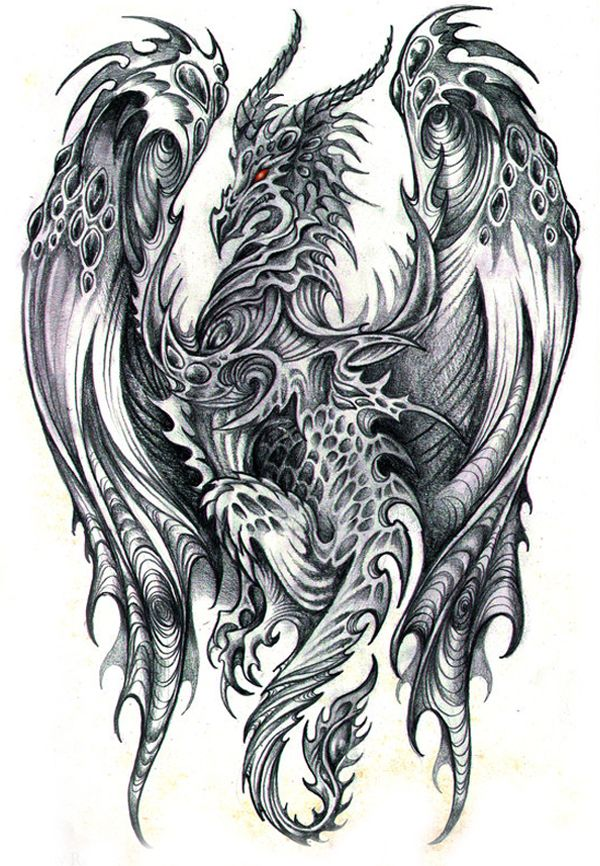 Excellent pencil drawings dragons