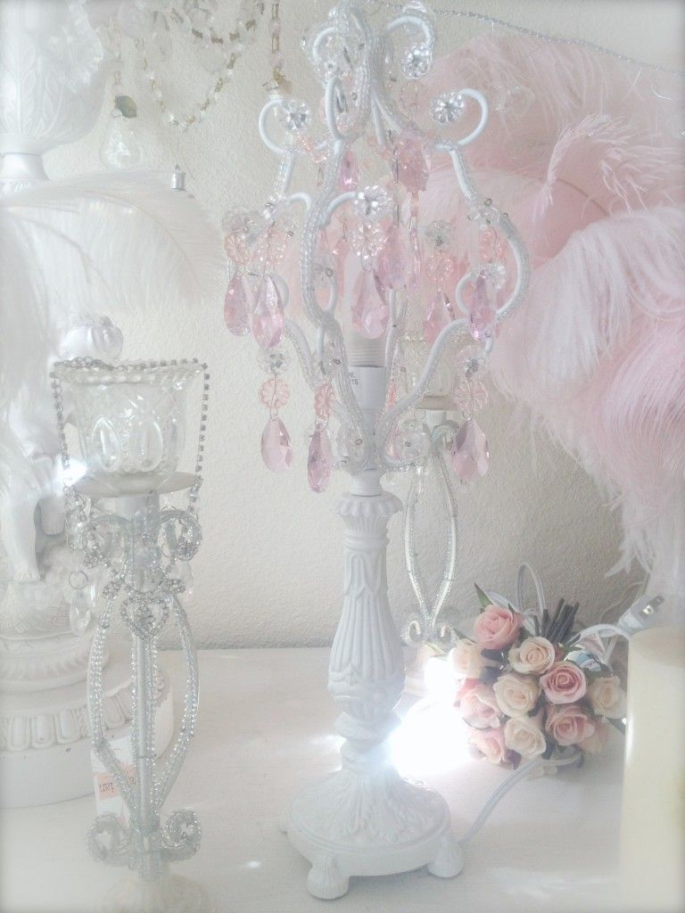 Shabby French Chic Beaded Candelabra Table Lamp Pink Crystal Prism