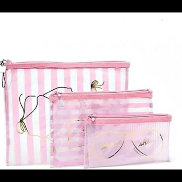 1a6412a97d72 Victorias Secret Makeup Beach Travel Bag Trio Set VICTORIA S SECRET  LIMITED-EDITION BEACH SWIM SUNSHINE COSMETIC BAG TRIO SET