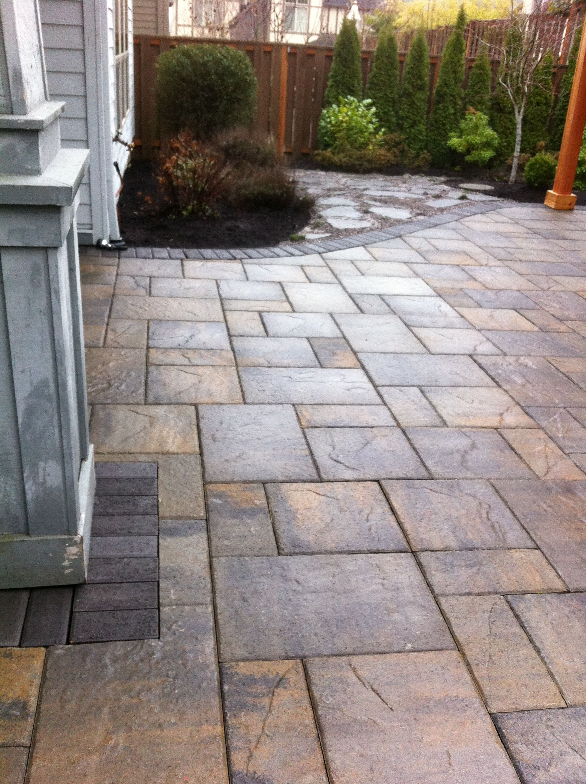 This Portland Oregon Backyard Was Treated To A New Back Patio Belgard La Paver Installed Over An Existing Concrete